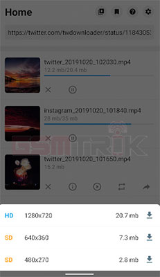 Cara Save Video di Twitter Android
