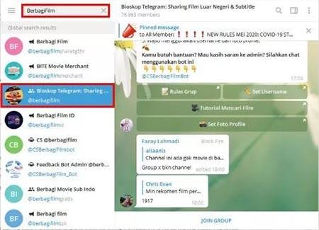 Nonton Film di Telegram PC