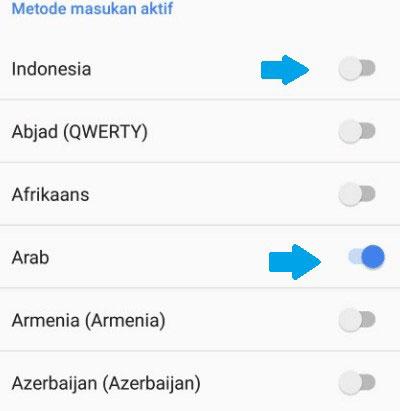 5. Nyalakan Bahasa Arab