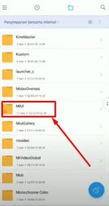 6 Nantinya sobat akan melihat beberapa folder lalu scrool ke bagian bawah sampai menemukan folder MIUI.