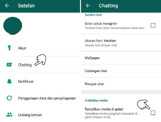 Mengatur Visibilitas Media WhatsApp