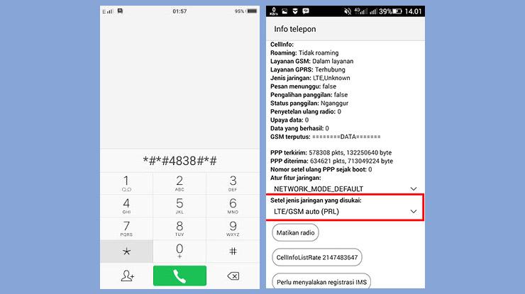 Lock 4G LTE lewat Dial Pad
