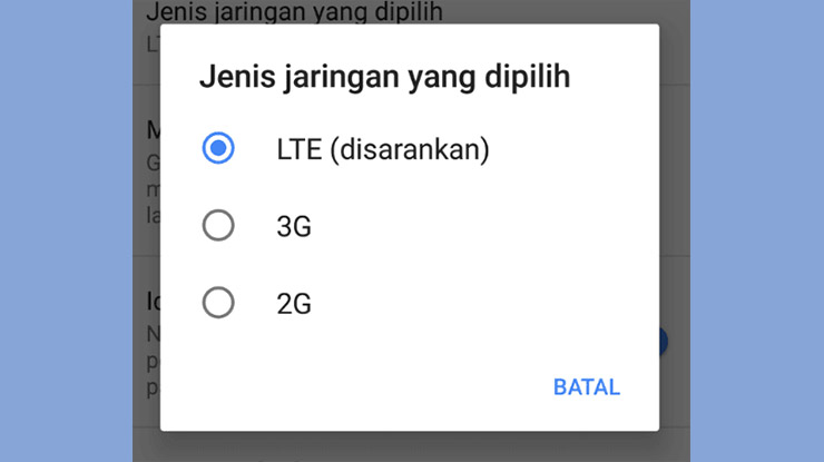Mengunci Jaringan 4G LTE di Pengaturan