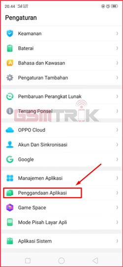 2 Pilih Penggandaan Aplikasi