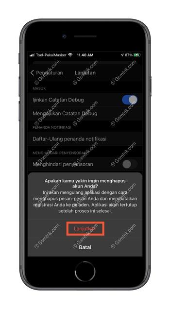 4 Pilih Lanjutkan iOS