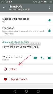 Cara memblokir Nomor Melalui WhatsApp