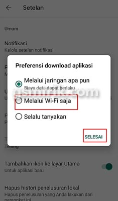 preferensi download