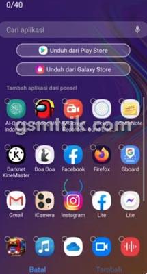 tambah aplikasi di Folder Aman Samsung A21s